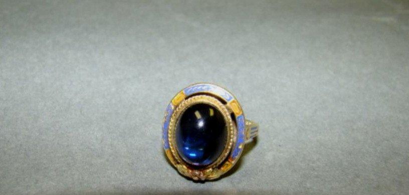 14k Gold  Blue Stone and Enamel Ring