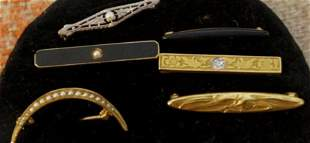 Lot of 6, Victorian 14k Gold Bar Pins