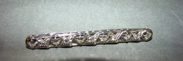Platinum, 14k Gold and Diamond Bar Pin