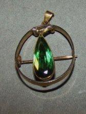 18k Gold, Platinum and Tourmaline Pin/Pendant