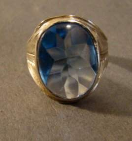 14k White Gold and Blue Stone Ring