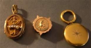 Lot of 3 Victorian 14k Gold Items, Slide, Locket,