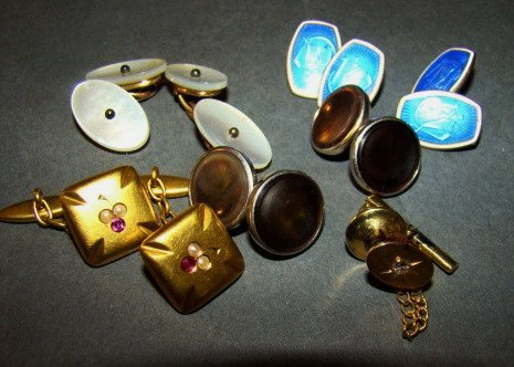 Assorted Lot 14k Gold Cufflinks and 14K Gold,
