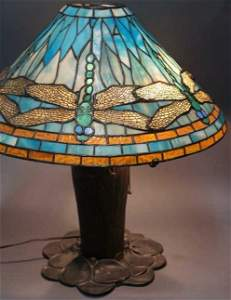Stained Glass Table Lamp with Dragon Fly Design