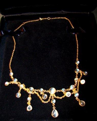 14k Gold Art Nouveau Moonstone Necklace