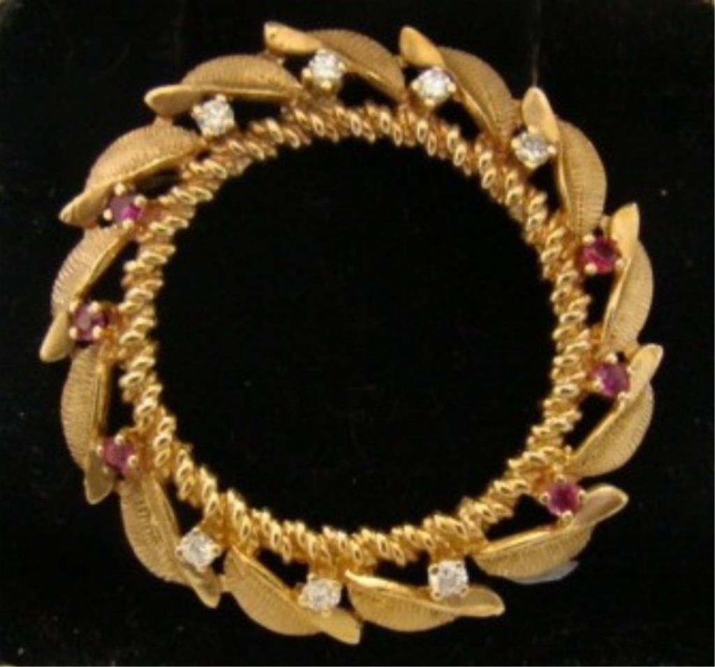 14k Gold Ruby and Diamond Circle Pin