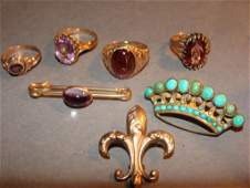 Victorian 14k Gold Pins Brooches Rings Grouping