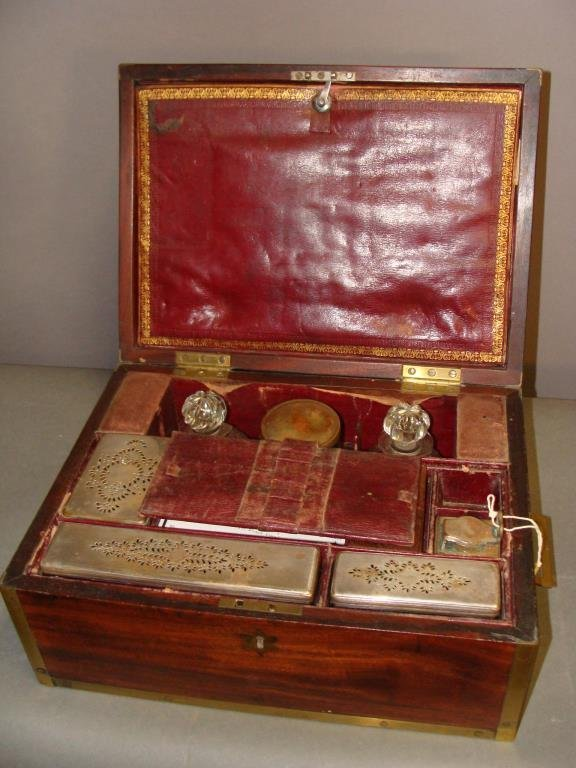 English Regency Travel Set with Sterling Silver