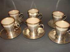 Sterling Silver Tea Cups and Saucers, Tiffany,
