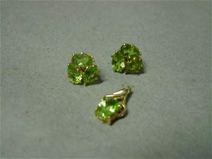 14K Gold and Peridot Pendant and Earrings