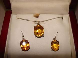 Sterling and Citrine Necklace and Earrings Set