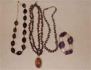 Sterling Smokey Topaz and Smoky Quartz Necklaces
