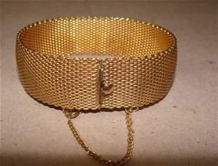 12K Yellow Gold Art Deco Mesh Bracelet