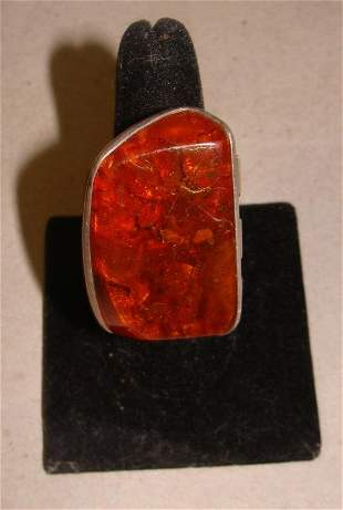 Chunky Sterling and Amber Ladies Ring