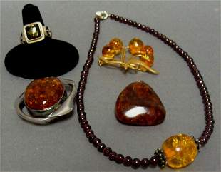 Lot of Amber Garnet and Sterling Jewelry