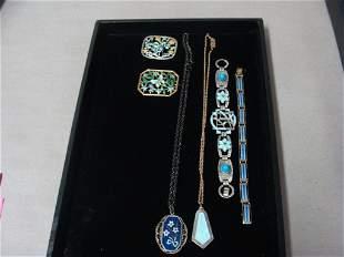 Guilloche Enamel Necklaces Bracelet Lot