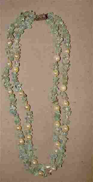 14K Gold Aquamarine and Pearl Necklace