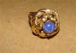 14K Gold and Blue Star Sapphire Ring