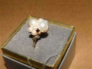 14K Gold and Pearl Cluster Ring