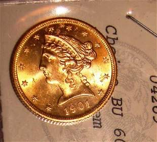 1901 Gold $5 Dollar Liberty Head