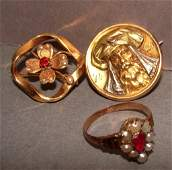 Vintage 14K Gold Jewelry  Ring and Brooches