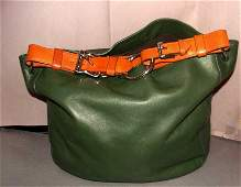 Vintage Ralph Lauren Green Leather Tote  Purse