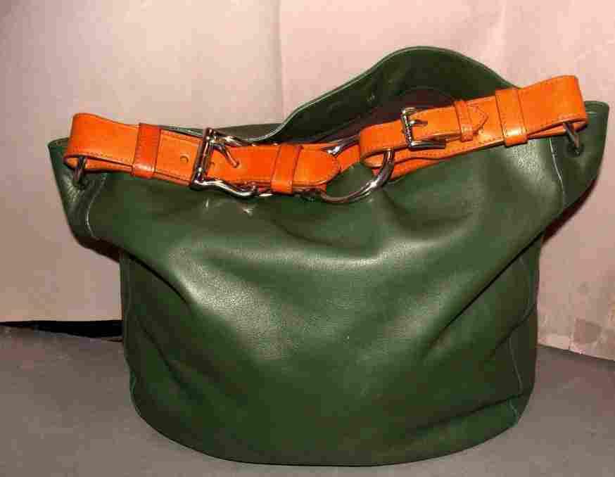 Vintage Ralph Lauren Green Leather Tote / Purse