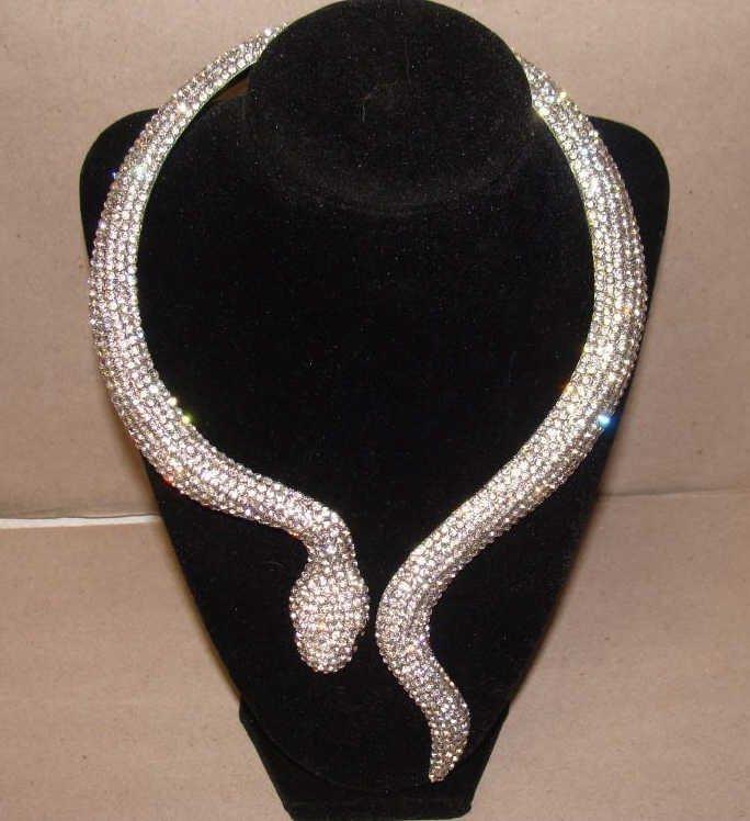 e6f72a98b2bf9 Silver Rhinestone Snake Choker Necklace