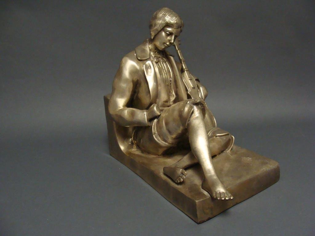 Musician Seated and Reclining Silver Gilt Bronze Figure