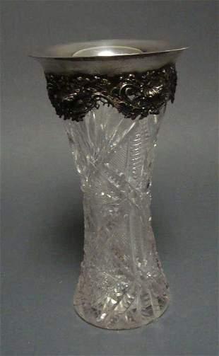 Brilliant Cut Glass Ornate Sterling Silver Center Vase
