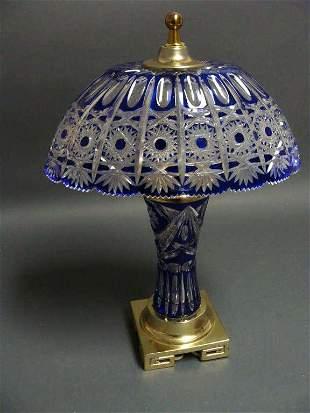 Cobalt Blue Overlay Cut Crystal Table Lamp
