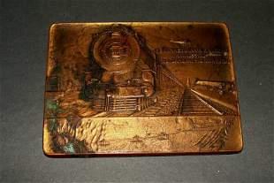 Miniature 1920's Bronze Commemorative Railroad Plaque