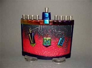 Studio Art Glass Menorah, Judaica, Signed Tamara Baskin