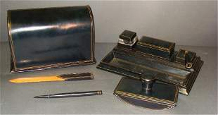 5 Piece Italian Fine Leather Desk Set