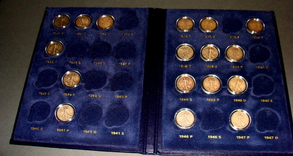 Collection of Silver Walking Liberty Half Dollar Coins