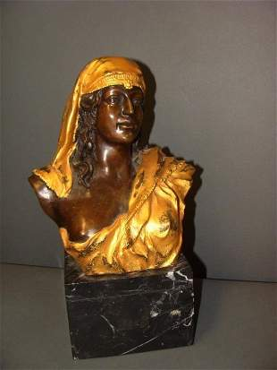 French Gilt Bronze and Marble Bust of a Woman Sculpture