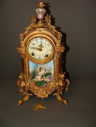 Antique French Gilt Bronze Classical Mantel Clock