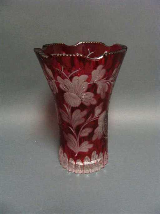Vintage Bohemian Cranberry Etched Cut Glass Vase