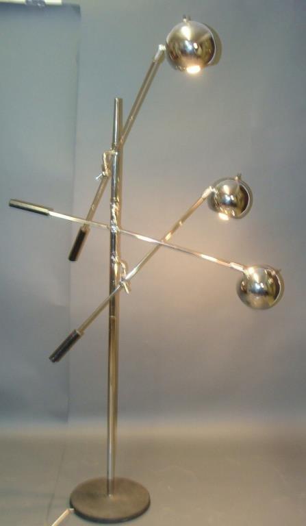 Robert Sonneman Chrome Eyeball 3 Arm Orbiter Floor Lamp