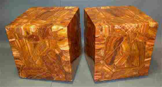 Pair, Mid-Century Muller Onyx & Lucite Cube Tables