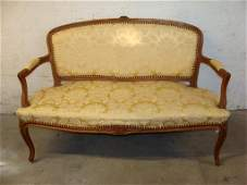 Vintage French Provincial Brocade Upholstered Settee