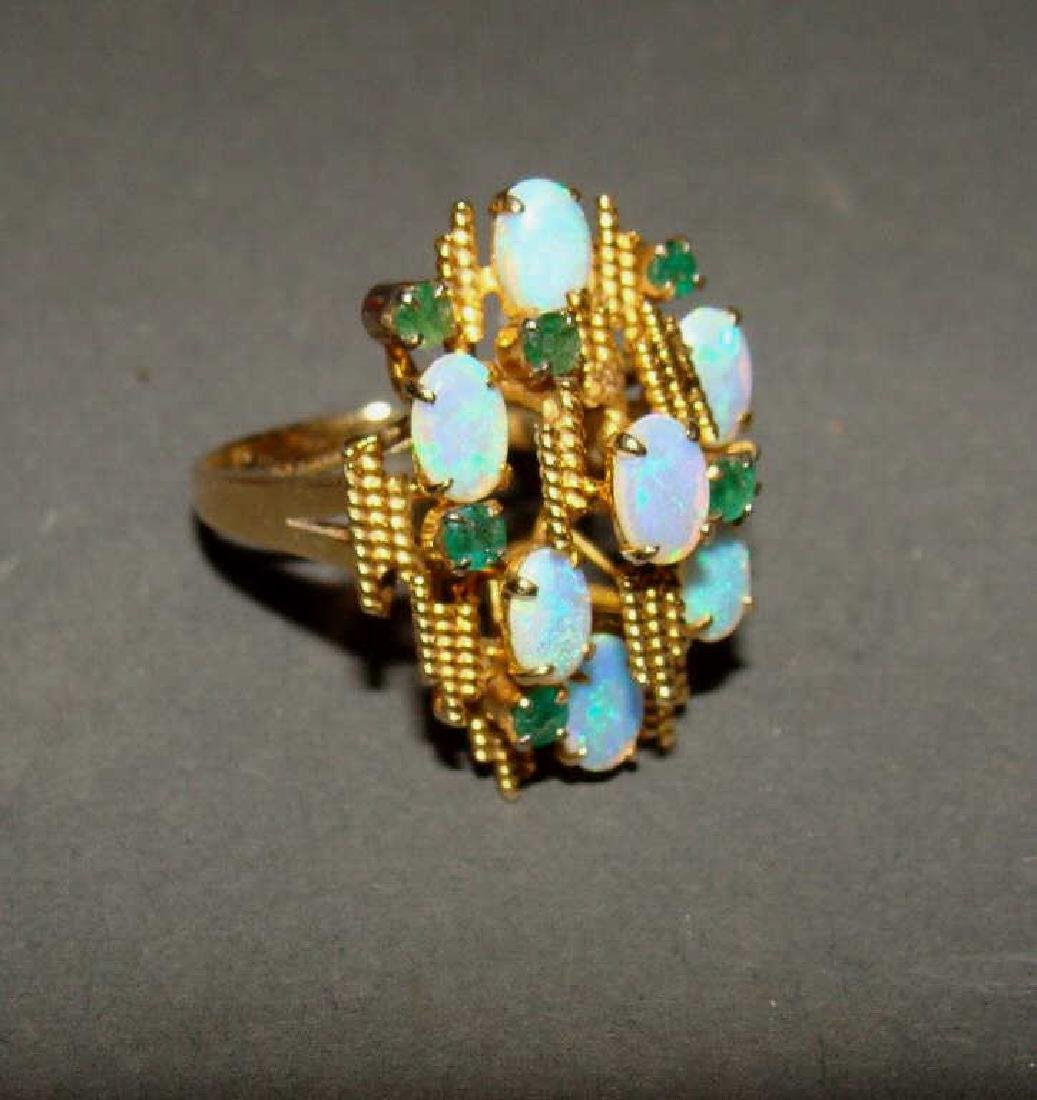 14kt Gold Ring with Fiery Opal Stones