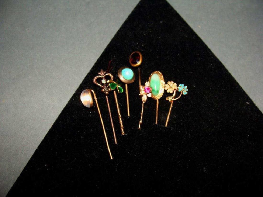 Lot of 9 Stick Pins, 5, 14kt,