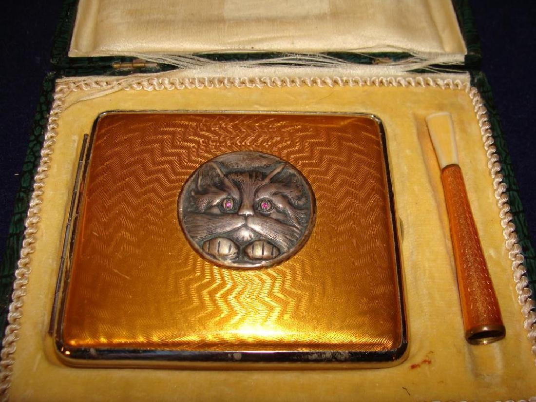 Antique Enamel Case and Holder