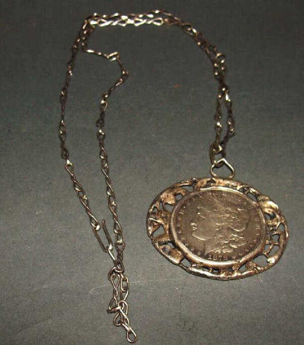 Sterling Silver Carson City Coin Pendant and Chain