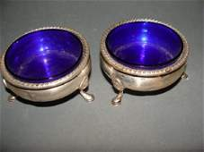 Pair Reed  Barton Sterling Silver and Cobalt Blue