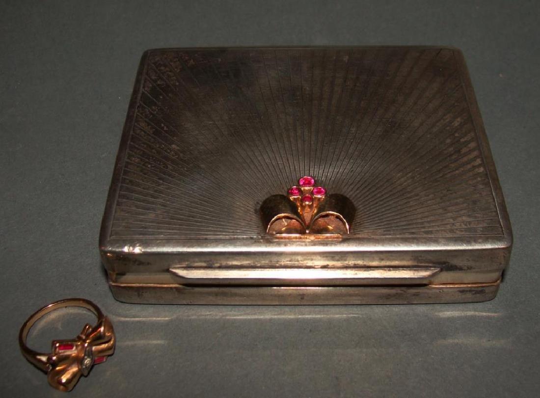 Tiffany & Co Sterling Sliver Box & 14kt Gold Ring