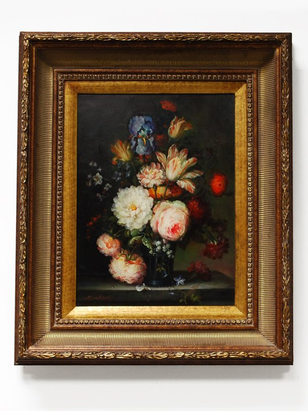 1A: Floral Still Life Oil Painting Signed