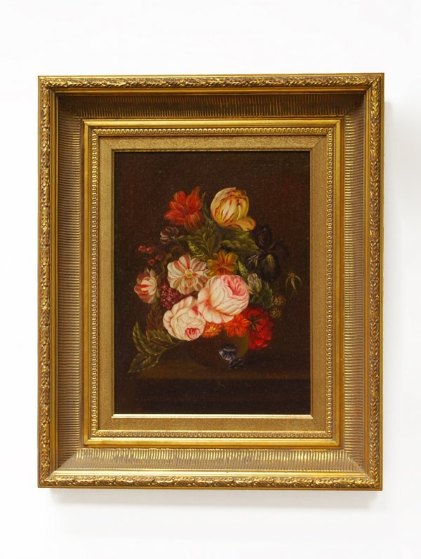 1B: Floral Still Life Oil Painting, Signed