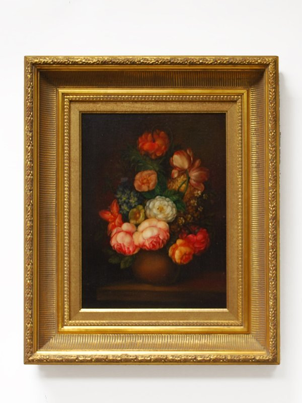 1C: Floral Still Life Oil Painting, Signed